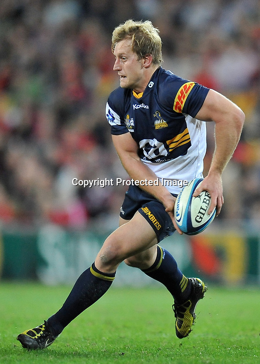 Pat Phibbs sets to pass for the Brumbies during action from Super 15 rugby (Round 16) - Reds v Brumbies played at Suncorp Stadium, Brisbane, Australia on Saturday 4th May 2011 ~ Photo : Steven Hight (AURA Images) / Photosport