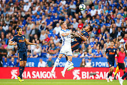 James Maddison of Leicester City challenges Jeison Murillo of Valencia - Mandatory by-line: Robbie Stephenson/JMP - 01/08/2018 - FOOTBALL - King Power Stadium - Leicester, England - Leicester City v Valencia - Pre-season friendly