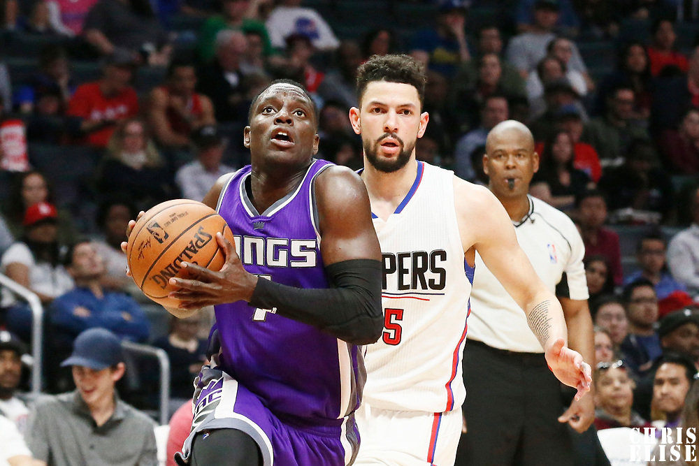 26 March 2016: Sacramento Kings guard Darren Collison (7) drives past LA Clippers guard Austin Rivers (25) during the Sacramento Kings 98-97 victory over the Los Angeles Clippers, at the Staples Center, Los Angeles, California, USA.