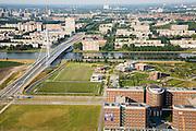 Nederland, Utrecht, Papendorp, 04-07-2006; zicht op de Prins Clausbrug (ontwerp Ben van Berkel) en de Polder Papendorp, in de voorgrond, wordt bedrijventerrein (kantorenpark)'in de achtergrond de flats van het Kanaleneiland en de binnenstad Utrecht (met Domtoren); Amsterdam-Rijnkanaal; projectontwikkeling, projectontwikkelaars, vastgoed, planologie, kantoor, tuibrug; luchtfoto (toeslag); aerial photo (additional fee required); .foto Siebe Swart / photo Siebe Swart