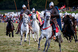 © Licensed to London News Pictures. 16/10/2016. East Sussex, UK. A re-enactment of the Battle of Hastings gets under way in East Sussex to mark the 950th anniversary of the defeat of King Harold by William of Normandy in a weekend long event on Sunday, 16 October 2016.  Photo credit: Tolga Akmen/LNP