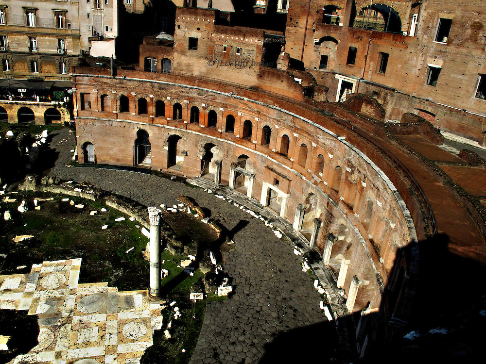 Trajan's Markets seen from its roof, looking down on the hemicycle and part of the pavement of Trajan's Forum.