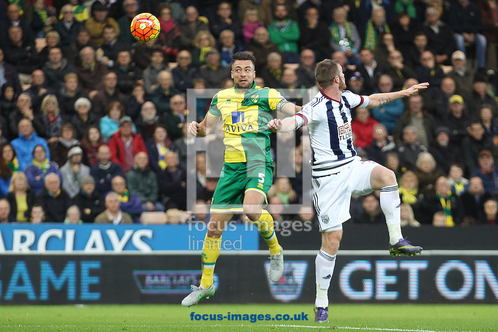 Russell Martin of Norwich wins a header during the Barclays Premier League match at Carrow Road, Norwich<br /> Picture by Paul Chesterton/Focus Images Ltd +44 7904 640267<br /> 24/10/2015