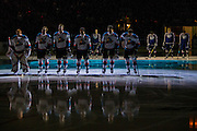 KELOWNA, CANADA - MARCH 04: Starting Lineup at the Kelowna Rockets game on March 04, 2017 at Prospera Place in Kelowna, British Columbia, Canada.  (Photo By Cindy Rogers/Nyasa Photography,  *** Local Caption *** Brodan Salmond #31 of the Kelowna Rockets, Gordie Ballhorn #4 of the Kelowna Rockets, Cal Foote #25 of the Kelowna Rockets, Nick Merkley #10 of the Kelowna Rockets, Calvin Thurkauf #27 of the Kelowna Rockets, Reid Gardiner #23 of the Kelowna Rockets