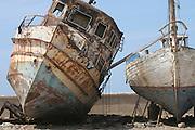 Israel, Tel Aviv-Jaffa, Old boats at dry dock at the Jaffa port
