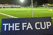 General view of Cherry Red Records Stadium, home of AFC Wimbledon Football Club showing an FA Cup sign before the FA Cup match against Liverpool at the Cherry Red Records Stadium, Kingston<br /> Picture by David Horn/Focus Images Ltd +44 7545 970036<br /> 05/01/2015