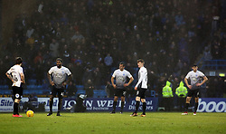 The Peterborough United players stand dejected after Gillingham score a late equalising goal - Mandatory by-line: Joe Dent/JMP - 10/02/2018 - FOOTBALL - MEMS Priestfield Stadium - Gillingham, England - Gillingham v Peterborough United - Sky Bet League One
