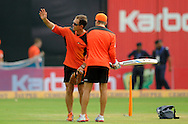 Justin Langer coach of  Perth Scorchers interacts with one of the team players during a practice session before the start of match 4 of the Karbonn Smart Champions League T20 (CLT20) 2013  between The Highveld Lions and the Perth Scorchers held at the Sardar Patel Stadium, Ahmedabad on the 23rd September 2013<br /> <br /> Photo by Pal PIllai-CLT20-SPORTZPICS  <br /> <br /> Use of this image is subject to the terms and conditions as outlined by the CLT20. These terms can be found by following this link:<br /> <br /> http://sportzpics.photoshelter.com/image/I0000NmDchxxGVv4