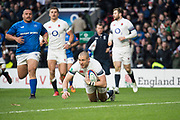 Twickenham, Surrey. UK. Mike BROWN, touching down, during the England vs Samoa, Autumn International. Old Mutual Wealth Series. RFU Stadium, Twickenham. Surrey, England.<br /> <br /> Saturday  25.11.17  <br /> <br /> [Mandatory Credit Peter SPURRIER/Intersport Images]