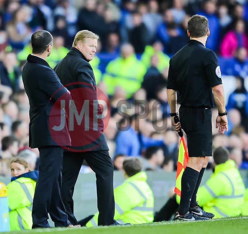 Southampton Manager, Ronald Koeman glances towards the linesman after he changes his decision - Photo mandatory by-line: Matt McNulty/JMP - Mobile: 07966 386802 - 04/04/2015 - SPORT - Football - Liverpool - Goodison Park - Everton v Southampton - Barclays Premier League
