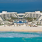 Aerial View of the Oasis Playa Hotel.<br /> Cancun, Quintana Roo. Mexico