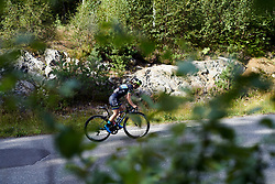 Shannon Malseed (AUS) in a long solo move during Ladies Tour of Norway 2019 - Stage 3, a 125 km road race from Moss to Halden, Norway on August 24, 2019. Photo by Sean Robinson/velofocus.com