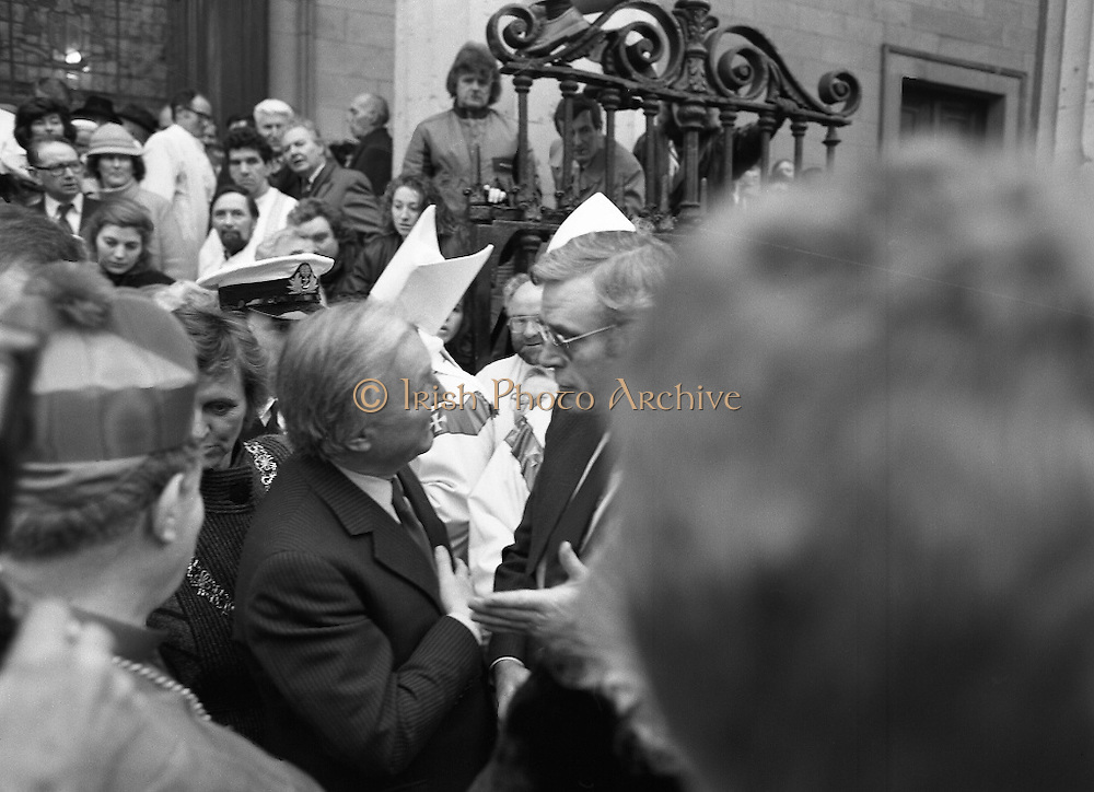 Funeral Of Sean McBride.   (R71)..1988..18.01.1988..01.18.1988..18th January 1988..Today saw the Funeral of Seán McBride.Seán MacBride was an Irish government minister, a prominent international politician and a former Chief of Staff of the IRA. His funeral took place from the Pro-Cathedral in Dublin to the family plot in Glasnevin Cemetery, Dublin.The Chief mourners were Tiernan McBride,son, Anna White,daughter and Declan White, son in law...An Taoiseach,Charles Haughey, is pictured offering condolences to Mr Tiernan McBride at the funeral of his father, Seán.