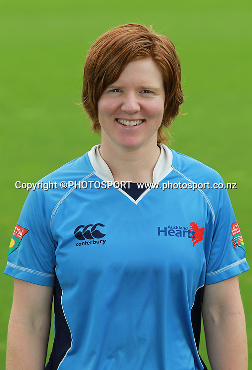 Katie Perkins. Auckland Hearts head shots, Bert Sutcliffe Oval, Lincoln University, Thursday 29 December 2011. Photo : Joseph Johnson / photosport.co.nz