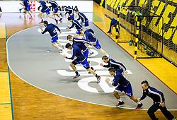Players of Celje at warming up prior to the handball match between RK Gorenje Velenje and RK Celje Pivovarna Lasko in Round #19 of 1st NLB League 2015/16, on February 24, 2016 in Rdeca dvorana, Velenje, Slovenia. Photo by Vid Ponikvar / Sportida