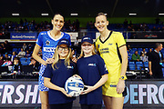 ANZ Future Captains Zoe Taylor aged 10 and Emma Molesworth aged 10 pose for a photo with Anna Harrison of the Mystics and Katrina Grant of the Pulse prior to the match. 2018 ANZ Premiership netball match, Mystics v Pulse at The Trusts Arena, Auckland, New Zealand. 3 June 2018 © Copyright Photo: Anthony Au-Yeung / www.photosport.nz