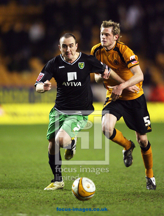 Wolverhampton - Tuesday February 3rd, 2009: Norwich City's Lee Croft bursts past and scores past Richard Stearman of Wolverhampton Wanderers during the Coca Cola Championship match at Molineaux, Wolverhampton. (Pic by Chris Ratcliffe/Focus Images)