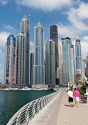 View of new skyscrapers under construction in Marina at New Dubai in United Arab Emirates