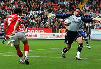 Photo: Tom Dulat.<br /> <br /> Charlton Athletic v Queens Park Rangers. Coca Cola Championship. 27/10/2007.<br /> <br /> Goalkeeper of Queens Park Rangers Lee Camp saves the ball kicked by of Charlton Athletic's Zheng Zhi
