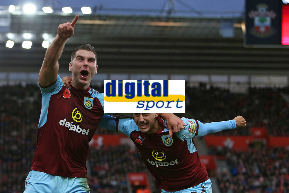 Football - 2017 / 2018 Premier League - Southampton vs. Burnley<br /> <br /> Sam Vokes of Burnley celebrates his goal with Matthew Lowton of Burnley at St Mary's Stadium Southampton<br /> <br /> COLORSPORT/SHAUN BOGGUST