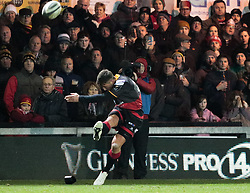 Dragons' Gavin Henson converts<br /> <br /> Photographer Simon King/Replay Images<br /> <br /> Guinness Pro14 Round 10 - Dragons v Ulster - Friday 1st December 2017 - Rodney Parade - Newport<br /> <br /> World Copyright © 2017 Replay Images. All rights reserved. info@replayimages.co.uk - www.replayimages.co.uk