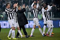 Antonio Conte e la squadra esultano sotto la curva Juventus.Calcio  Juventus vs Udinese.Campionato Serie A - Torino 19/1/2013 Juventus Stadium.Football Calcio 2012/2013.Foto Federico Tardito Insidefoto