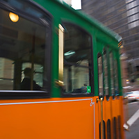 Trolley rushing in the street, Boston, Massachusetts