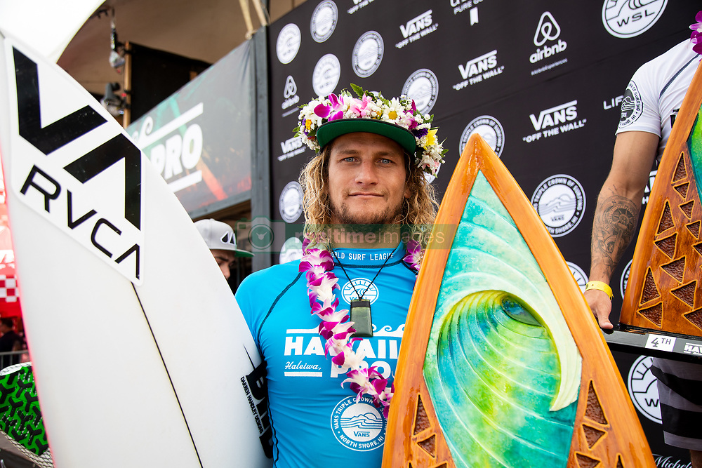 Ricardo Christie of New Zeland places third in the Hawaiian Pro at Haleiwa, Oahu, Hawaii, USA.