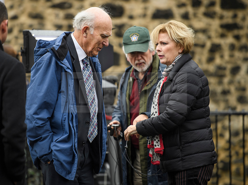 © Licensed to London News Pictures. 21/10/2019. London, UK. Former Lib Dem leader VINCE CABLE MP and ANNA SOUBRY MP are seen talking to media in Westminster, London. Last week Parliament sat on a Saturday for the first time since 1982, but failed to vote on Boris Johnson's new Brexit deal. Photo credit: Ben Cawthra/LNP