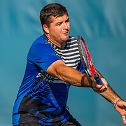 August 20, 2016, New Haven, Connecticut: <br /> Jesse Witten in action during a US Open National Playoffs match at the 2016 Connecticut Open at the Yale University Tennis Center on Saturday, August  20, 2016 in New Haven, Connecticut. <br /> (Photo by Billie Weiss/Connecticut Open)