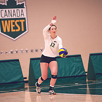 2nd year outside hitter, Jessica Lerminiaux (12) of the Regina Cougars during the Women's Volleyball pre-season game on Sat Sep 22 at Centre for Kinesiology, Health & Sport. Credit: Arthur Ward/Arthur Images