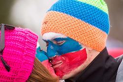 Fans kissing during Large Hill Team Competition at 3rd day of FIS Ski Jumping World Cup Finals Planica 2014, on March 22, 2014 in Planica, Slovenia. Photo by Vid Ponikvar / Sportida