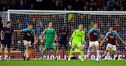 BURNLEY, ENGLAND - Thursday, August 16, 2018: İstanbul Başakşehir's goalkeeper Volkan Babacan goes up to the Burnley box in the final minute of extra time during the UEFA Europa League Third Qualifying Round 2nd Leg match between Burnley FC and İstanbul Başakşehir at Turf Moor. (Pic by David Rawcliffe/Propaganda)