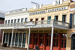 Huntington & Hopkins Hardware and Pacific Rail Road store fronts, Old Sacramento, California, United States of America