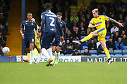 AFC Wimbledon midfielder Mitchell (Mitch) Pinnock (11) shoots at goal during the EFL Sky Bet League 1 match between Southend United and AFC Wimbledon at Roots Hall, Southend, England on 12 October 2019.
