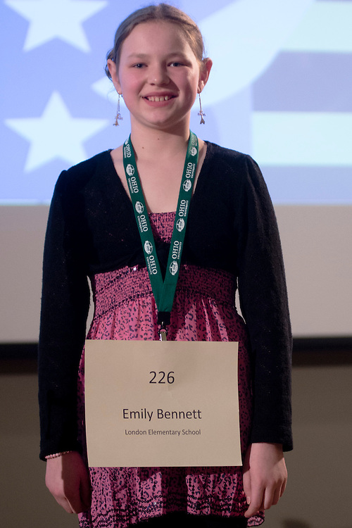 Emily Bennett of London Elementary School introduces herself during the Columbus Metro Regional Spelling Bee Regional Saturday, March 16, 2013. The Regional Spelling Bee was sponsored by Ohio University's Scripps College of Communication and held in Margaret M. Walter Hall on OU's main campus.