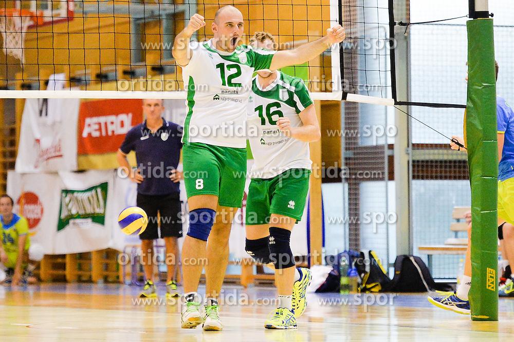 Dalibor Smitran of Panvita Pomgrad celebrate during the Friendly Volleyball match between OK Panvita Pomgrad and U21 Nationalteam of Slovenia on August 28, 2015 in Murska Sobota, Slovenia. Photo by Mario Horvat / Sportida