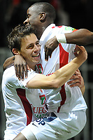 FOOTBALL - FRENCH CHAMPIONSHIP 2010/2011 - L1 - STADE BRESTOIS v AS SAINT ETIENNE  - 30/10/2010 - PHOTO PASCAL ALLEE / DPPI - JOY ROMAIN POYET (BREST) AFTER HIS GOAL. HE IS CONGRATULATED BY OSCAR EWOLO