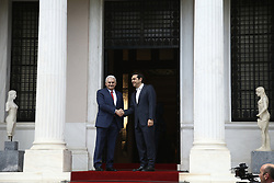 June 19, 2017 - Athens, Greece - PM Alexis Tsipras meets (R) meets Prime Minister of Turkey Binali Yildirim, at Maximos mansion in Athens on June 19, 2017. Yildirim will also visit the northeastern region of Thrace which has a Muslim minority, where he will partake in iftar, the meal when Muslims end the Ramadan fast at sunset. (Credit Image: © Panayotis Tzamaros/NurPhoto via ZUMA Press)
