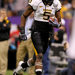 Dec 20, 2009; New Orleans, LA, USA; Southern Miss Golden Eagles wide receiver DeAndre Brown (5) during warm ups prior to kickoff of the 2009 New Orleans Bowl at the Louisiana Superdome.  Mandatory Credit: Derick E. Hingle-US PRESSWIRE