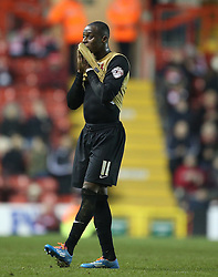 Leyton Orient's Moses Odubajo shows a look of dejection - Photo mandatory by-line: Matt Bunn/JMP - Tel: Mobile: 07966 386802 26/11/2013 - SPORT - Football - Bristol - Ashton Gate - Bristol City v Leyton Orient - Sky Bet League One