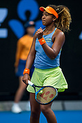 MELBOURNE, VIC - JANUARY 20: Naomi Osaka of Japan celebrates in her third round match during the 2018 Australian Open on January 20, 2018, at Melbourne Park Tennis Centre in Melbourne, Australia. (Photo by Jason Heidrich/Icon Sportswire)MELBOURNE, VIC - JANUARY 20: