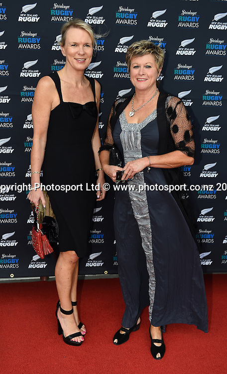 NZOC General Kereyn Smith and Netball New Zealand CEO Hilary Poole arrive on the red carpet for the Steinlager Rugby Awards. Viaduct Events Centre. Auckland. Thursday 11 December 2014. Photo: Andrew Cornaga/www.photosport.co.nz