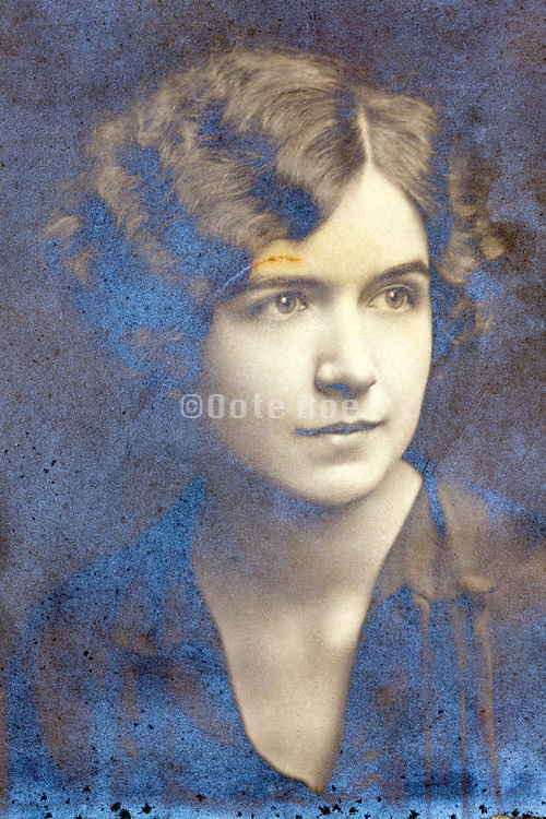 emulsion oxidizing studio head and shoulders portrait of a young adult woman