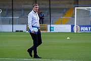 Sunderland Manager Phil Parkinson inspects the pitch prior to the EFL Sky Bet League 1 match between Wycombe Wanderers and Sunderland at Adams Park, High Wycombe, England on 19 October 2019.