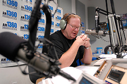Mar 24, 2006; San Diego, CA, USA; ''Progressive liberal'' radio talk show host ED SCHULTZ talks to a caller, March 24, 2006, in the studios of Air Americas' KLSD in San Diego, California. Schultz who calls himself a 'gun-toting meat eating Liberal' and Bush basher is on a cross-country radio broadcast tour spreading his views on democracy and the American way (Credit Image: © Earl S. Cryer/ZUMAPRESS.com)