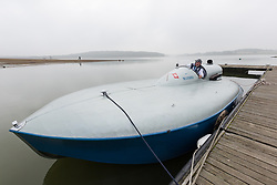 © Licensed to London News Pictures. 26/09/2017. Bewl Water, Kent, UK.  Following extensive restoration, the hydroplane powerboat Bluebird K3, piloted by owner Karl Foulkes-Halbard carries out test runs on the lake at Bewl Water in Kent. The Bluebird K3 powerboat was originally used by Sir Malcolm Campbell to set three world water speed records, reaching 130mph in 1938.  Photo credit: Vickie Flores/LNP