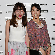 Zoe Zhu, Min Xiao attend Fashion Scout - SS19 - London Fashion Week - Day 2, London, UK. 15 September 2018.