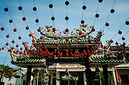 Malaysia, Georgetown. Red lanterns in Hainan Temple.