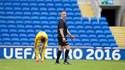CARDIFF, WALES - Friday, June 5, 2015: Referee Dean John during a practice match at the Cardiff City Stadium ahead of the UEFA Euro 2016 Qualifying Round Group B match against Belgium. (Pic by David Rawcliffe/Propaganda)